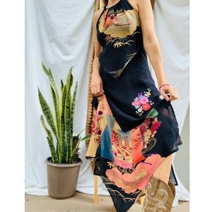 Boho Floral Sue Wong Silk Maxi Dress